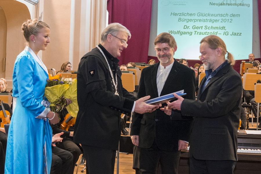 v.r.n.l: Eugen Trautzold, Gert Schmidt, Georg Schramm (Bürgermeister)